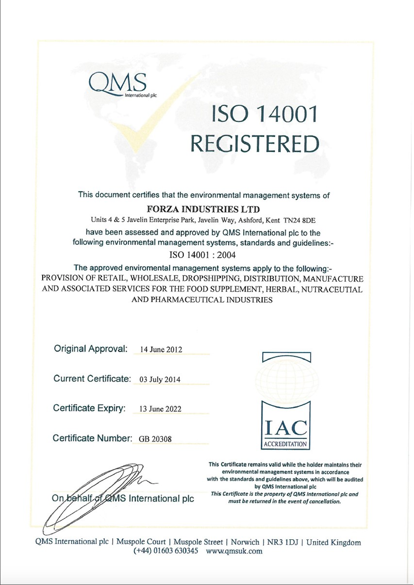 Supplement Manufacturer ISO14001 certificate
