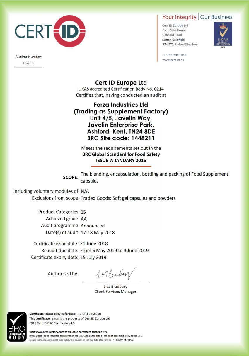 BRC certified contract manufacturer